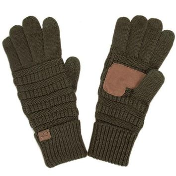 Knitted Texting Gloves - Olive