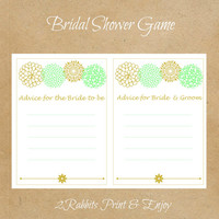 Mint Green and Gold Advice for Bride To Be Printable Cards - Advice for Bride & Groom Printable Cards-Printable Bridal Shower Game