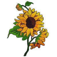 Sun Flowers Embroidered Iron on Applique Patches
