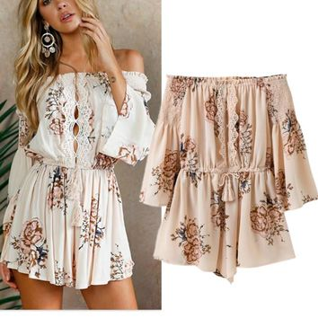Casual Pants Summer Stylish Print Lace Patchwork Shorts Women's Fashion Jumpsuit [11604640015]