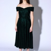 Green Velvet Holiday Dress / M L