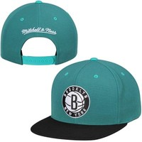 Men's Brooklyn Nets Mitchell & Ness Aqua/Black Current Logo Gem Snapback Adjustable Hat