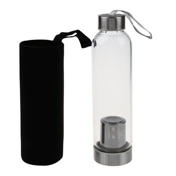 Glass Sport Water Bottle with Tea Filter Infuser Protective Bag 550ml