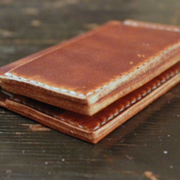Slim Bi-Fold Leather Card Wallet - Handcrafted Handstitched Horween Leather Custom Thread