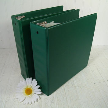 Set of Two Very Large Vintage Dark Green Vinyl & Metal Three Ring Binders - Retro School Supplies Matching 3 Metal Ring Heavy Duty Books