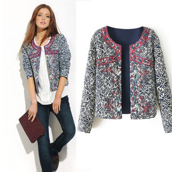 Vintage Print Round-neck Slim Women's Fashion Jacket [6281473732]