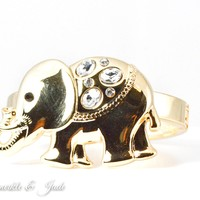 Large Gold Crystal Embellished Hinged Elephant Bracelet
