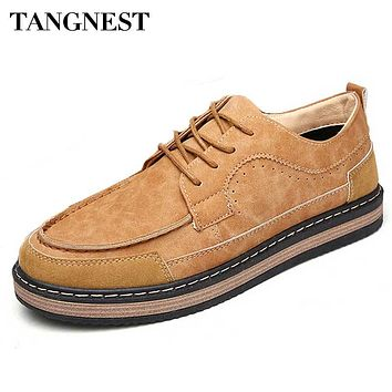 Tangnest Vintage British Style Men's Patchwork Oxford Casual Shoes