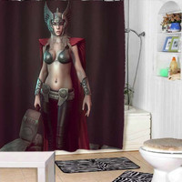 Lady thor shower curtains adorabel bathroom and heppy shower.