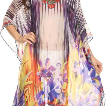 Sakkas Mimi Short Caftan Semi Sheer Moroccan Printed Pattern Dress / Cover Up