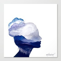 Blue Mountains Double Exposure Watercolor Canvas Print by ahmadillustrations