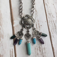 Serenity Crystal Look Boho Necklace (Silver)