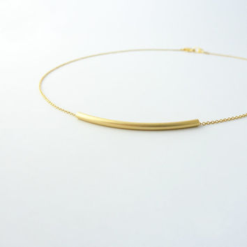 Layering tube necklace | Gold curved bar necklace, Everyday jewelry