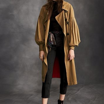 Free People Balloon Sleeve Trench Coat