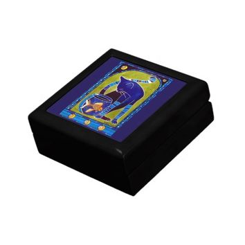 Blue Cat With Goldfish Whimsical Cat Art Keepsake Box