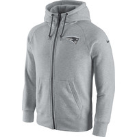 Men's New England Patriots Nike Ash Gridiron Gray 2.0 Full-Zip Hoodie