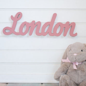 Nursery Name Sign Baby Plaque Small Personalized Door Hanging Or Wall