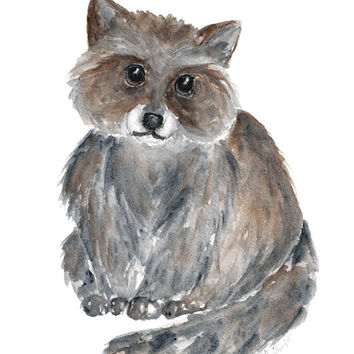 Raccoon watercolor painting, woodland nursery art, baby animal painting, forest animals, watercolor animals, kids animal art, 8X10 original