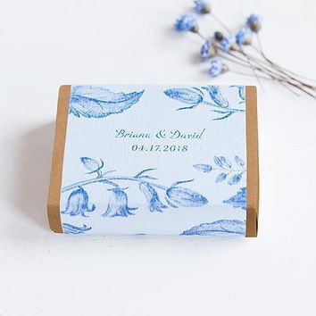 Kraft Drawer-Style Favor Box With Romance Floral Wrap Assortment Powder Blue (Pack of 8)
