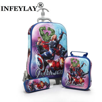 3PCS/set HOT cartoon students trolley case Lovely kids Climb stairs Luggage Travel 3D EVA stereo suitcase child pencil box gift