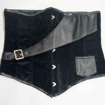 Black Leather Belt Underbust Corset