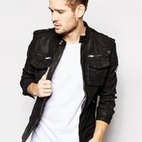 Pepe Jeans | Pepe Leather Biker Jacket Harvey Slim Fit at ASOS