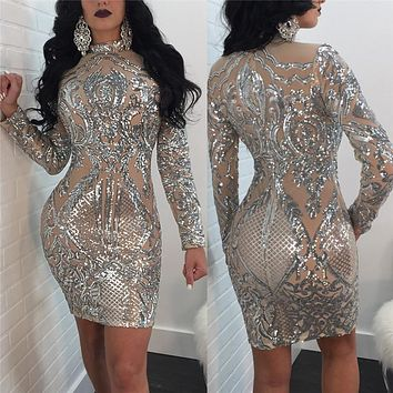 Long Sleeve Women Sequin Dress Autumn Winter Silver Sparkly Bodycon Dress Elegant Sexy Night Club Celebrity Glitter Party Dress