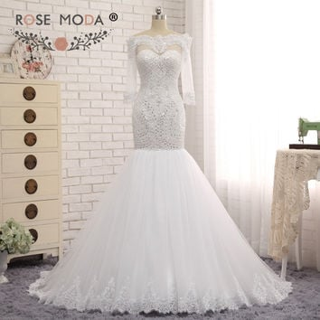 Rose Moda Heavily Beaded Mermaid Wedding Dress Scalloped Off Shoulder Half Sleeves White Bridal Dress Custom Made