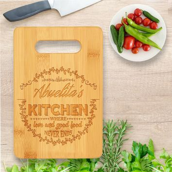 Personalized / Custom Laser Engraved Bamboo Wood Cutting Board