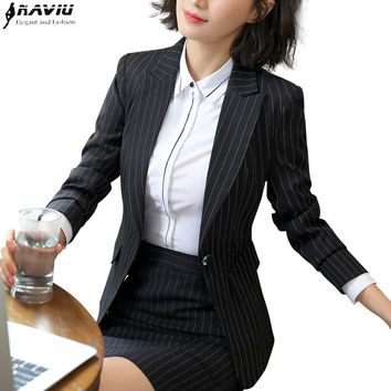 Professional suit female 2018 spring new fashion ladies stripes Skirt suit interview blazer and skirt office plus size uniforms