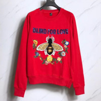 GUCCI Embroidery bee Hedging Sweater Red