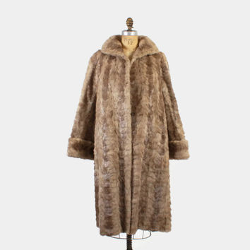 Vintage 50s MINK COAT / 1950s Taupe Genuine Mink Paw Fur Swing Coat