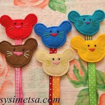 Felt Mouse Bookmark, Handmade Mouse Bookmarks, Colorful Embroidery Bookmark, Book Lovers Gift, Reading Mark