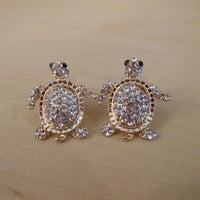 Silver and Gold Rhinestone Turtle Earrings - Sea Turtle Stud Earrings