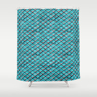 Teal blue and coral pink arapaima mermaid scales Shower Curtain by savousepate