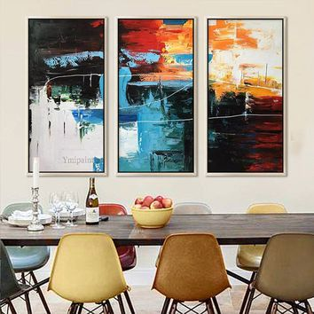 3 pieces Wall Art Abstract acrylic painting on canvas extra large textured Wall art Pictures for living room Home Decor cuadros abstractos