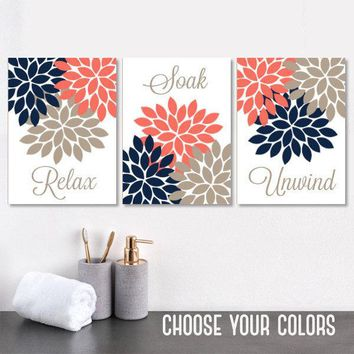 Navy Coral Beige BATHROOM Wall Art, CANVAS or Prints, Bathroom Wall Decor, Flower Bathroom Quote Pictures, Relax Soak Unwind, Set of 3