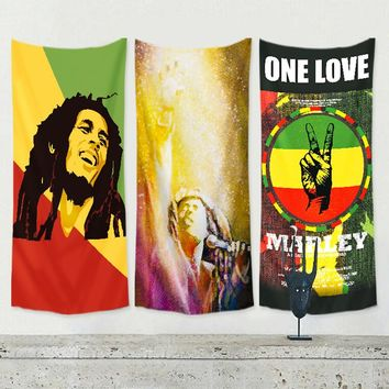 Bob Marley Jamaican Reggae rock music poster flag banner wall sticker cloth art hanging painting tapestry bar cafe home decor
