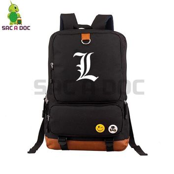Anime Backpack School kawaii cute Death Note L Killer Canvas Backpack Cosplay School Bags for Teenage Boys Girls Daily Laptop Backpack Large Travel Bags AT_60_4