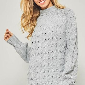 Mock Neck Cable Knit Sweater - Grey