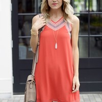Red Shift Dress- Embroidered A Line Dress-$75.00 | Hand In Pocket Boutique