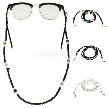 Plastic Beaded Eyeglass Reading Glasses Chain Lanyard Necklace Glasses Cord 3 Colors