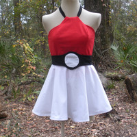Pokeball Dress - Pokemon Cosplay Costume - Any Size Teen through Plus Sized Adult - Custom Made to Fit