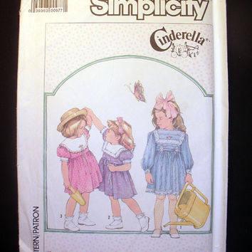 Little Girls Dress Girls Size 5, 6, 6x - Vintage Simplicity 7980 Sewing Pattern Uncut