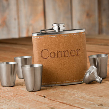 Personalize a Hide Stitch Flask & Shot Glass Gift Box Set