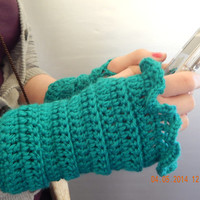 Teal Fingerless gloves,  crocheted Arm warmers, teal crocheted texting gloves