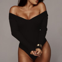 Autumn and winter women's fashion V-neck long-sleeved pitted jumpsuit Black