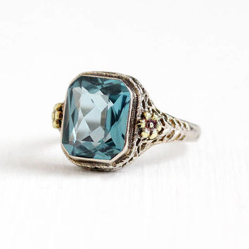 Vintage 10k White & Yellow Gold Art Deco Created Blue Spinel Ring - Antique Size 6 1/4 Filigree 1920s Two Tone Flower Fine M Co. Jewelry