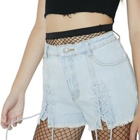Fairweather Lace-Up Denim Shorts