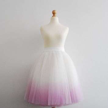 Blushing Ballerina : hand dyed ombre tulle skirt / adult tutu / ladies tulle skirt / bridesmaid / custom dyed skirt / gradient skirt